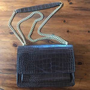 Brown (faux) Crocodile Print and Gold Chain Purse